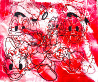 Disney Donald And Daisy Duck Red White Oil Unique  1999 42x50 Original Painting by Steve Kaufman - 0