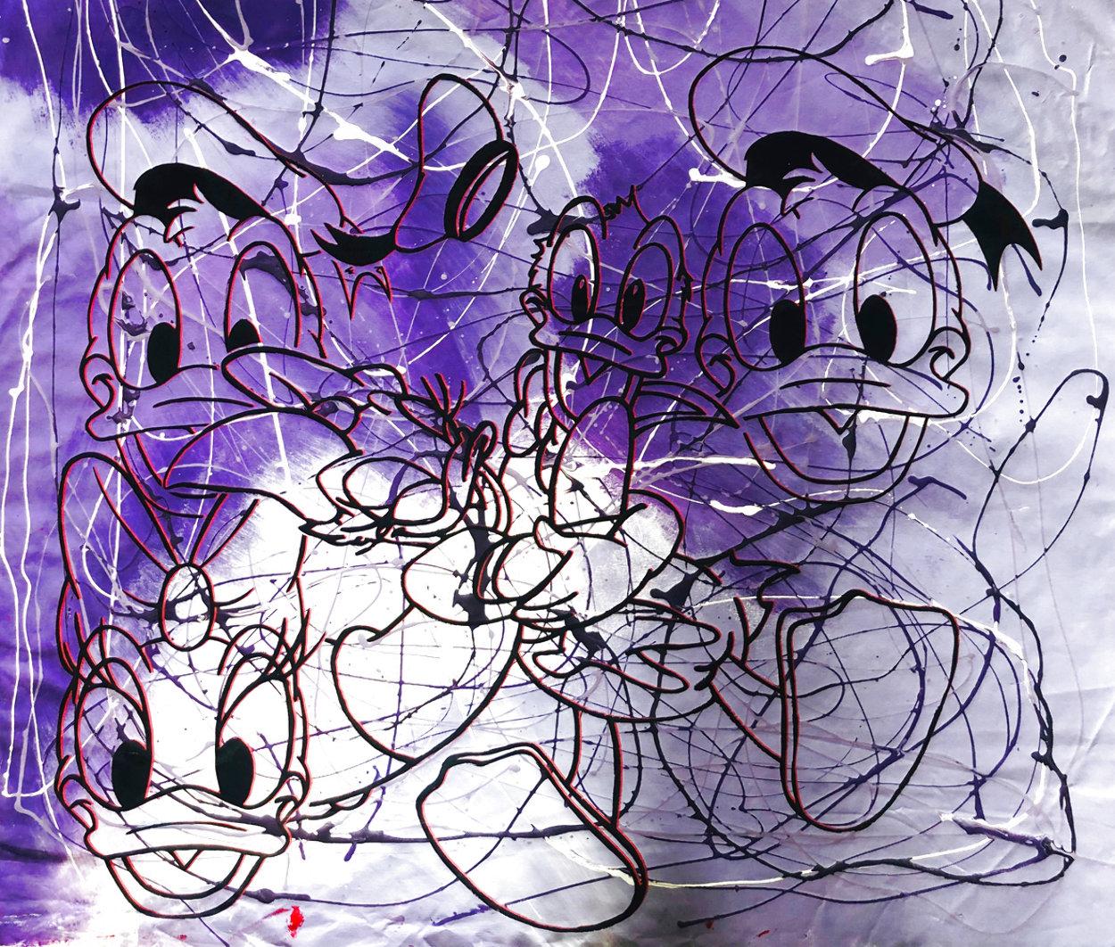 Disney Daisy Donald Duck Purple White Unique  1999 42x50 Original Painting by Steve Kaufman