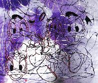 Disney Daisy Donald Duck Purple White Unique  1999 42x50 Original Painting by Steve Kaufman - 0