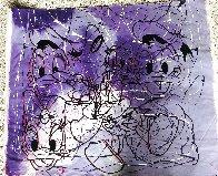 Disney Daisy Donald Duck Purple White Unique  1999 42x50 Original Painting by Steve Kaufman - 2
