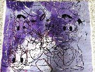Disney Daisy Donald Duck Purple White Unique  1999 42x50 Original Painting by Steve Kaufman - 3