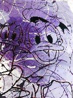 Disney Daisy Donald Duck Purple White Unique  1999 42x50 Original Painting by Steve Kaufman - 4