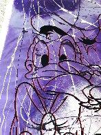 Disney Daisy Donald Duck Purple White Unique  1999 42x50 Original Painting by Steve Kaufman - 5