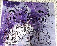 Disney Daisy Donald Duck Purple White Unique  1999 42x50 Original Painting by Steve Kaufman - 6