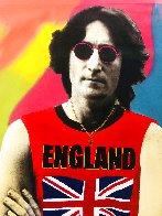 John Lennon England Unique  2001 48x30 Super Huge Original Painting by Steve Kaufman - 1
