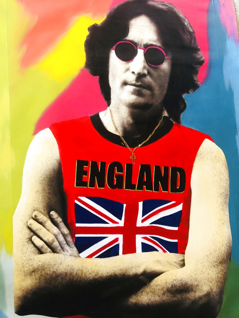John Lennon England Unique  2001 48x30 Super Huge Original Painting by Steve Kaufman