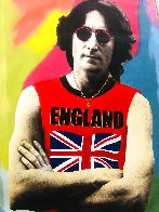 John Lennon England Unique  2001 48x30 Super Huge Original Painting by Steve Kaufman - 0