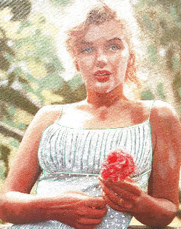 Marilyn Monroe With Flower Unique 1999 19x15 Original Painting - Steve Kaufman