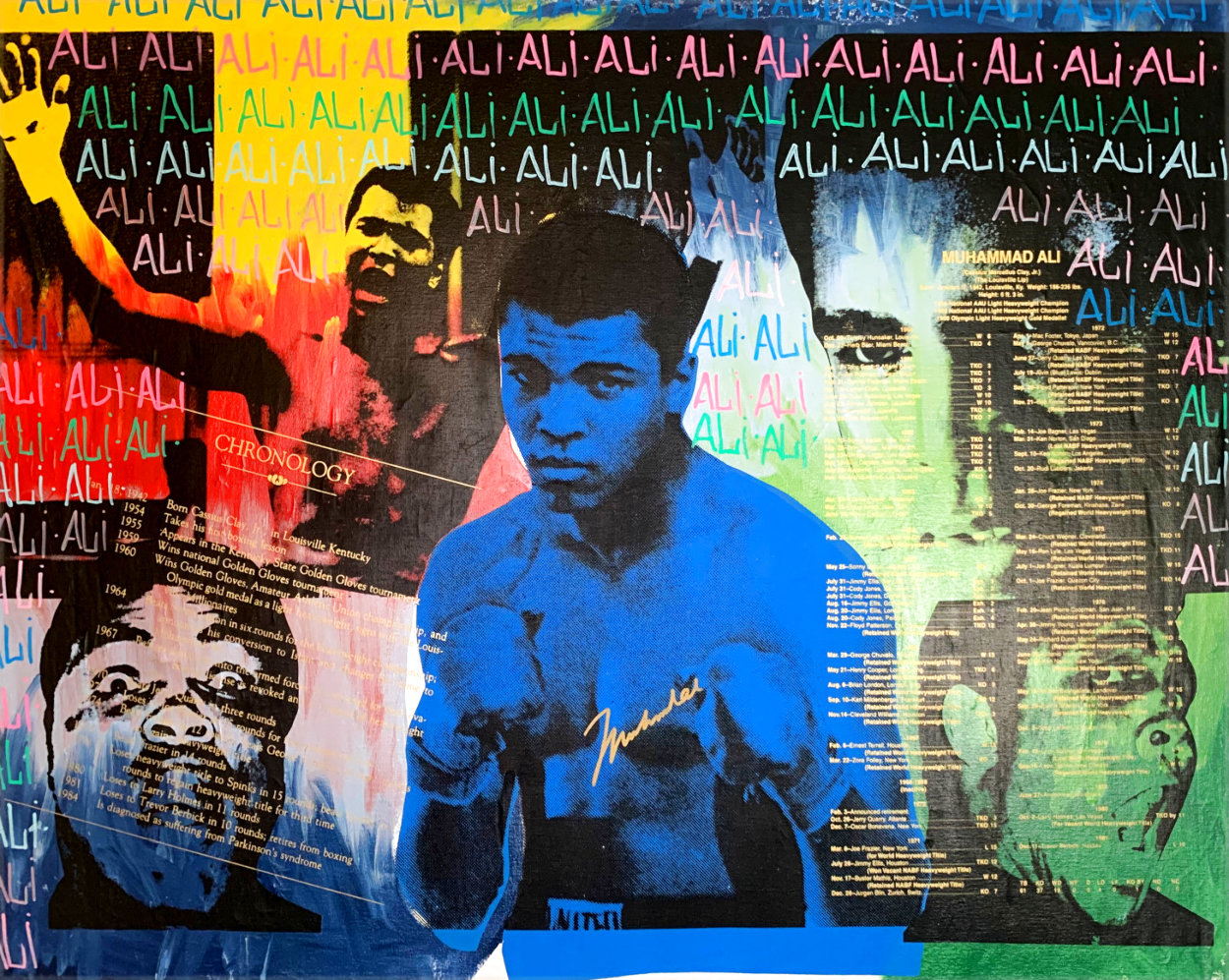 Ali Olympic the Greatest 1995 Embellished Canvas HS by Ali  Limited Edition Print by Steve Kaufman