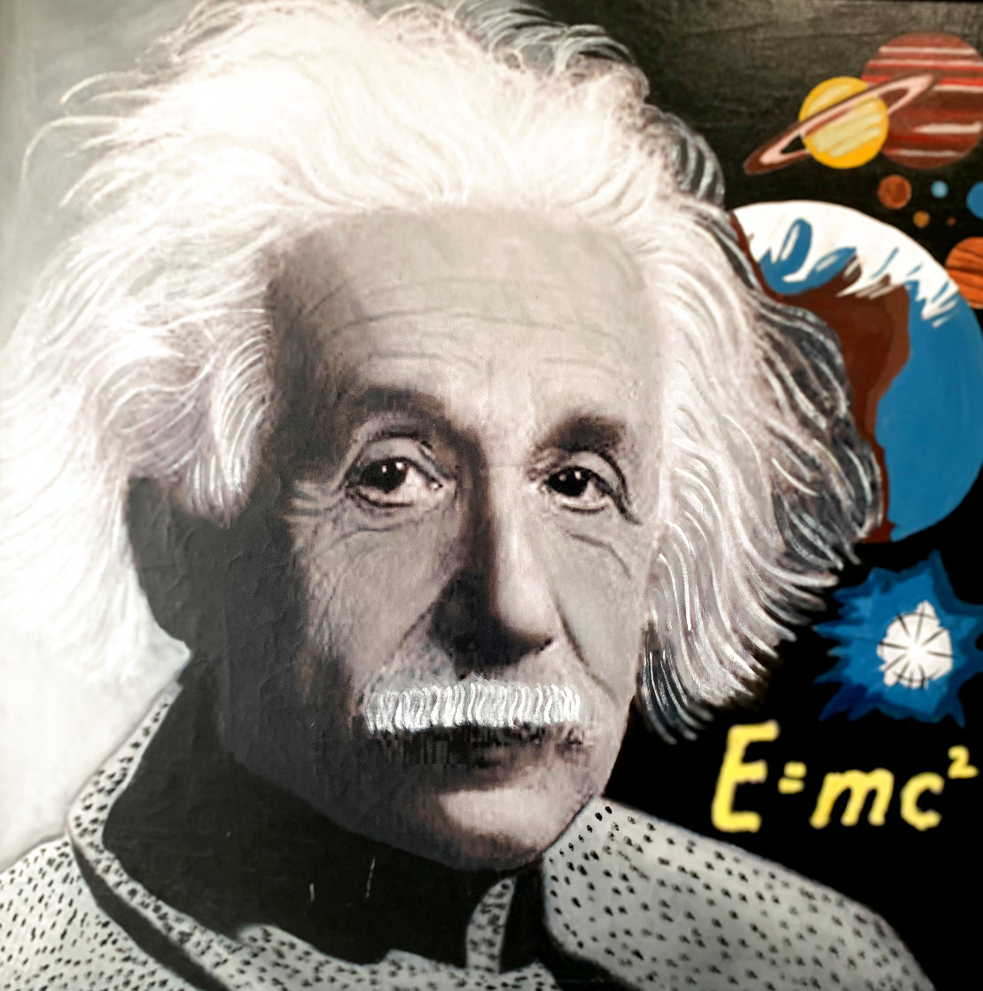 Albert Einstein E=MC2 Unique 48x48 Super Huge Original Painting by Steve Kaufman