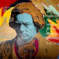 Beethoven  (Gold) Unique 1996 36x36 Original Painting by Steve Kaufman - 0