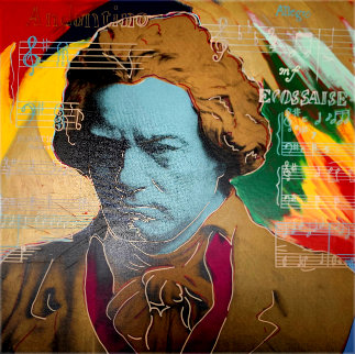 Beethoven  (Gold) Unique 1996 36x36 Original Painting - Steve Kaufman