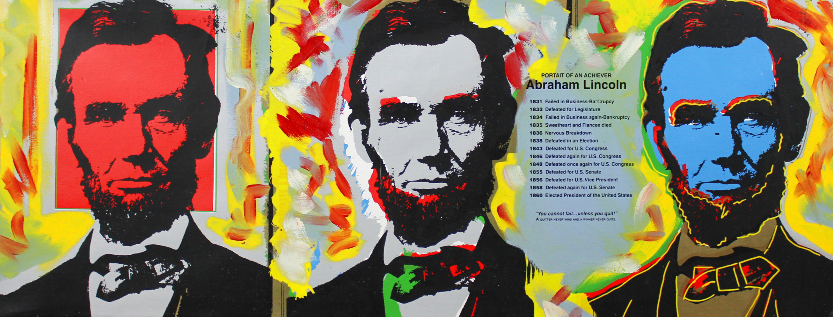 Abe Lincoln (3 Faces) Embellished Limited Edition Print by Steve Kaufman