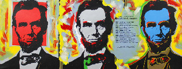 Abe Lincoln (3 Faces) Embellished Limited Edition Print - Steve Kaufman