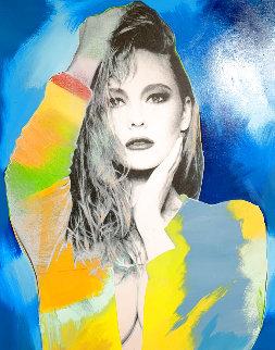 Portrait of an Unknown Woman Unique 2000 55x46 Original Painting - Steve Kaufman