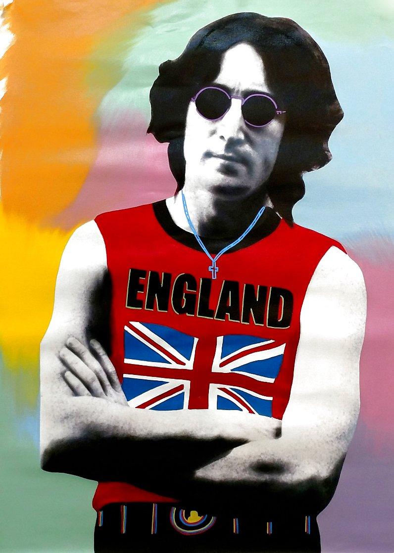 John Lennon London - T - Unique - 2001 48x32 Huge Original Painting by Steve Kaufman