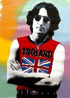 John Lennon London - T - Unique - 2001 48x32 Huge Original Painting by Steve Kaufman - 0