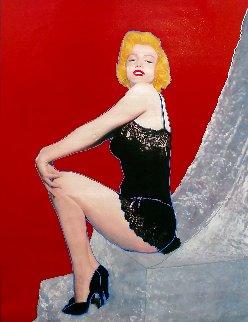 Marilyn - Sitting Pretty Unique 2001 48x36 Huge Original Painting - Steve Kaufman
