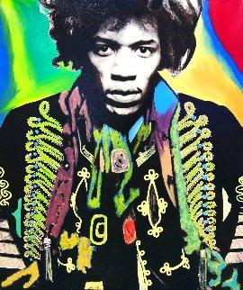 Jimi Hendrix Unique 1995 48x40 Huge Original Painting - Steve Kaufman