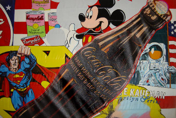 America The Beautiful (Mickey Mouse) 2003  96x60  on American Flag Original Painting by Steve Kaufman