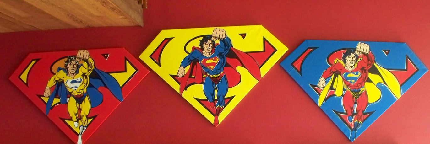 Superman Shield Set of 3 Matching Numbers  2001 Limited Edition Print by Steve Kaufman
