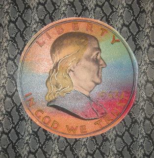 Ben Franklin Liberty Coin 2003 on Snakeskin Limited Edition Print - Steve Kaufman