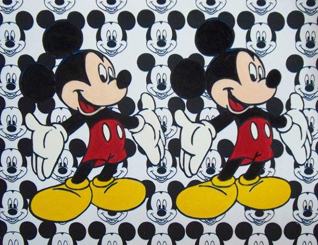 Disney Double Mickey Mouse 2000 Unique 38x48 Original Painting by Steve Kaufman