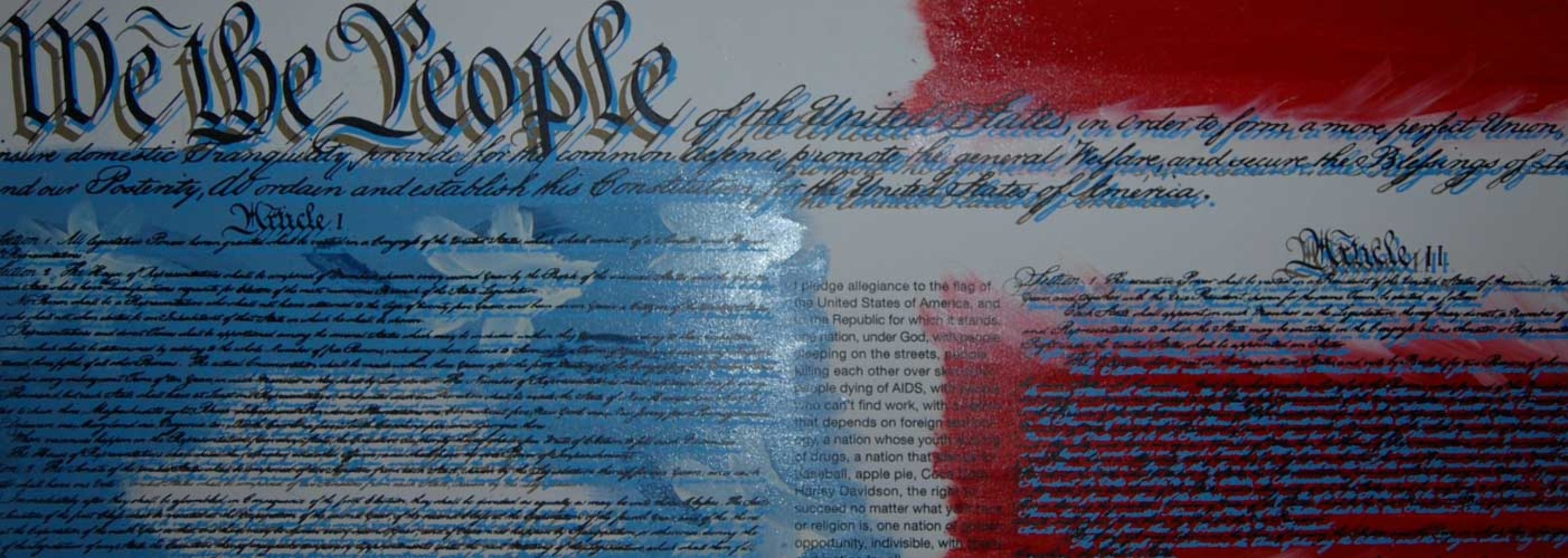 We the People Constitution Embellished Limited Edition Print by Steve Kaufman