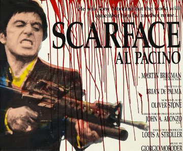 Blood Scarface (Al Pacino) Unique 36x45 2000 Original Painting by Steve Kaufman