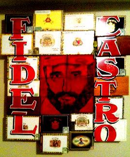 Fidel Castro, Cuba Unique 50x50 Huge Original Painting - Steve Kaufman