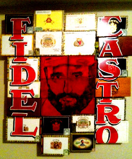 Fidel Castro, Cuba Unique 50x50 Super Huge Original Painting - Steve Kaufman