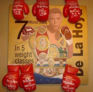 Oscar De La Hoya with 6 Gloves Unique 44x36 Super Huge Original Painting - Steve Kaufman