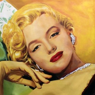 Marilyn - Golden Unique 48x46 Original Painting by Steve Kaufman