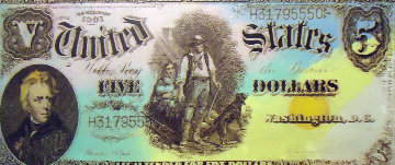 1905 Five Dollar Bill AP Limited Edition Print by Steve Kaufman