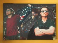 Triple Bono - Performance Unique 2009 32x46 Original Painting by Steve Kaufman - 1