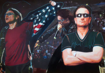 Triple Bono - Performance Unique 2009 32x46 Original Painting by Steve Kaufman