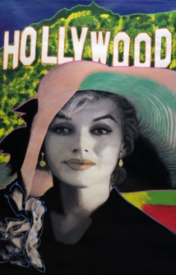Marilyn, Sophisticated Marilyn - Hollywood Style Unique 46x28 Original Painting by Steve Kaufman