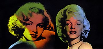Double Marilyn- Norma Jean (Black) Unique 22x40 Original Painting by Steve Kaufman