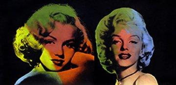 Double Marilyn- Norma Jean (Black) Unique 22x40 Original Painting by Steve Kaufman