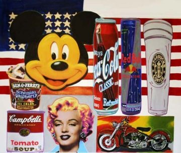 USA Icons (Large) 67x69 Unique Original Painting - Steve Kaufman