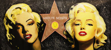 Double Marilyn - Hollywood Star Unique 28x60 Original Painting by Steve Kaufman