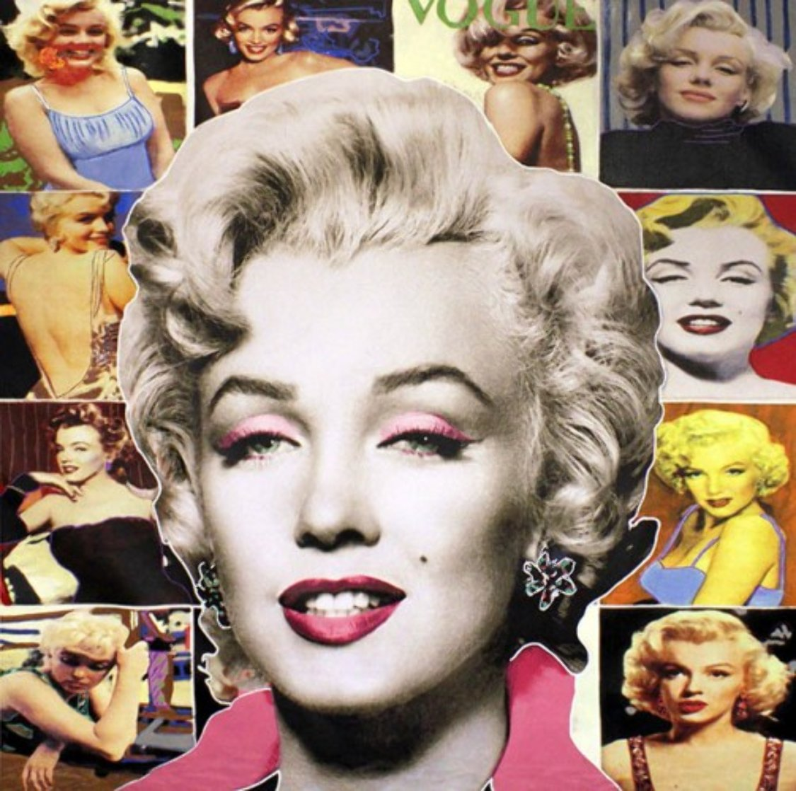 Pop Marilyn Collage - White Hair 48x48 Unique Original Painting by Steve Kaufman