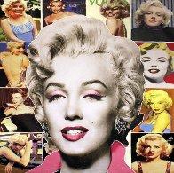 Pop Marilyn Collage - White Hair 48x48 Unique Original Painting by Steve Kaufman - 0