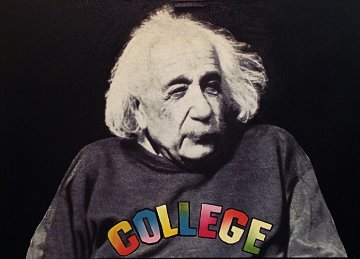 Dr. Einstein Goes to College Unique 48x34 Super Huge Original Painting - Steve Kaufman