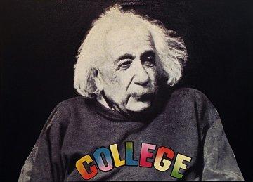 Dr. Einstein Goes to College Unique 48x34 Original Painting by Steve Kaufman