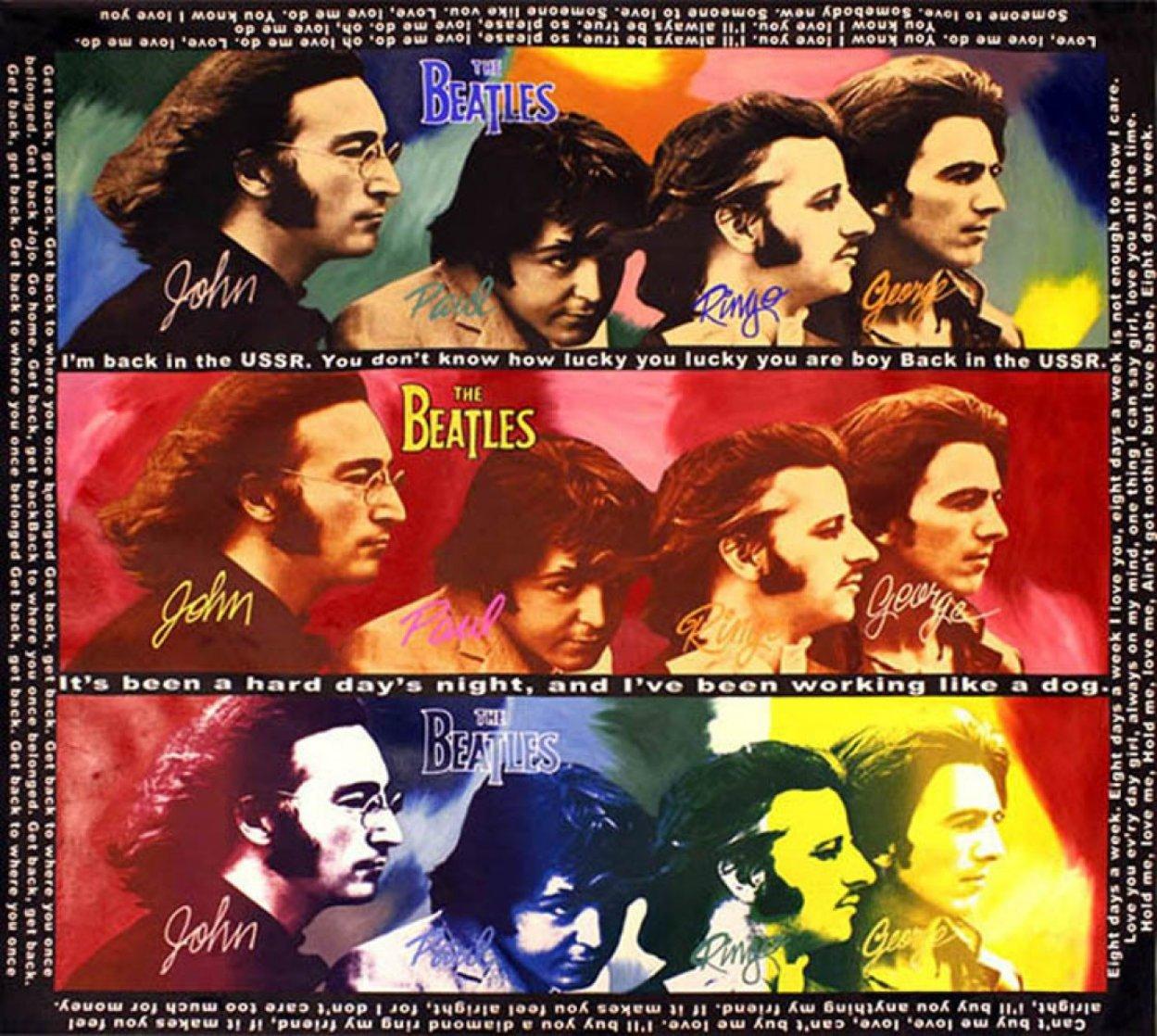 Beatles-Hard Day's Night, Unique  60x60 Huge  Original Painting by Steve Kaufman
