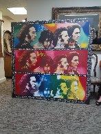 Beatles-Hard Day's Night, Unique  60x60 Huge  Original Painting by Steve Kaufman - 1