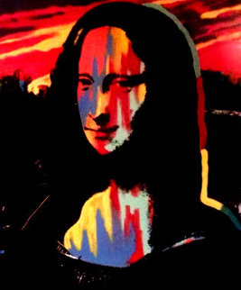 Mona Lisa Sunset 1995 Embellished - Set of 3 Original Painting by Steve Kaufman