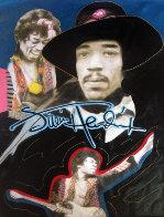Jimi Hendrix 1995 Unique 64x44 Super Huge Original Painting by Steve Kaufman - 0