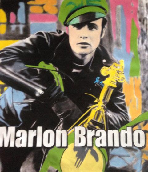 Marlon Brando 1995 Unique 60x52 Super Huge Original Painting by Steve Kaufman